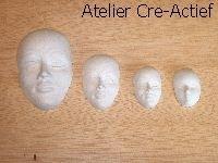 Gietvorm 10 gezichten/maskers 3,5 tot 7cm Hobby Time art 910