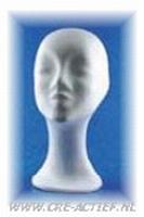 Styropor hoofd vrouw halflange hals   art.21349-02 32cm